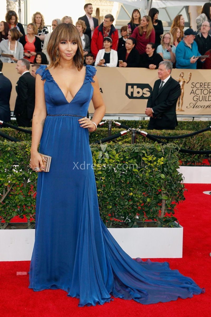 Jackie cruz cute blue chiffon plunging v neck ruffled strap prom