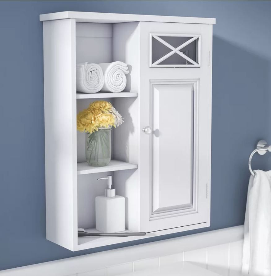 Bathroom Medicine Chest Wall Cabinet White Wood 1 Door Storage Shelves Organizer El Wall Mounted Bathroom Cabinets Bathroom Wall Cabinets Wall Mounted Cabinet