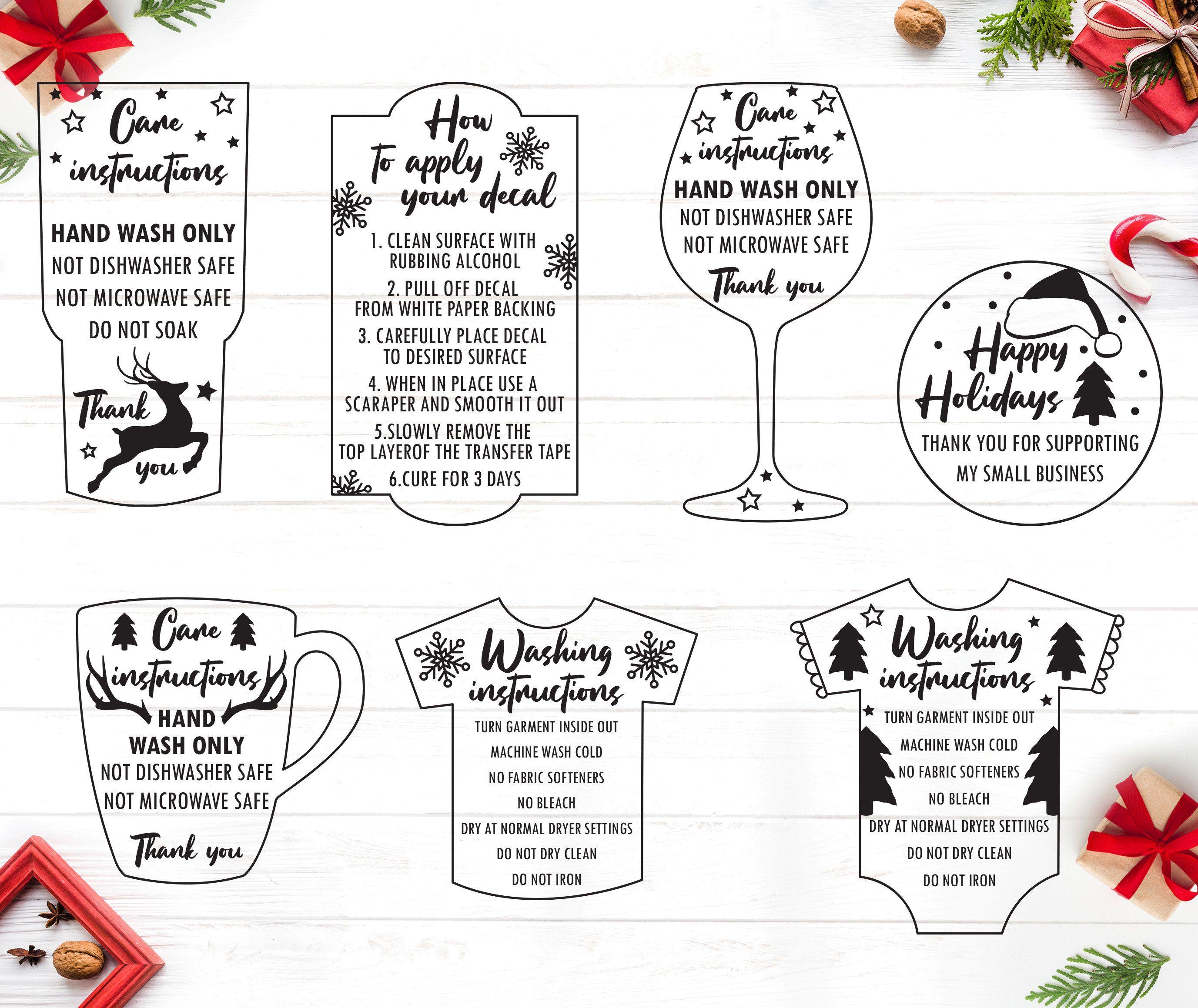 Christmas care instruction svg care card bundle svg