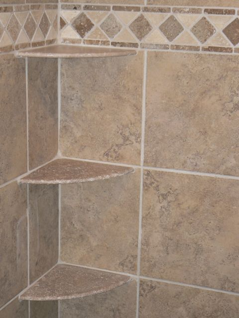 Corner Shelving In Bathtub | ... Picture Shows A Shower With Corner Shelves  Installed