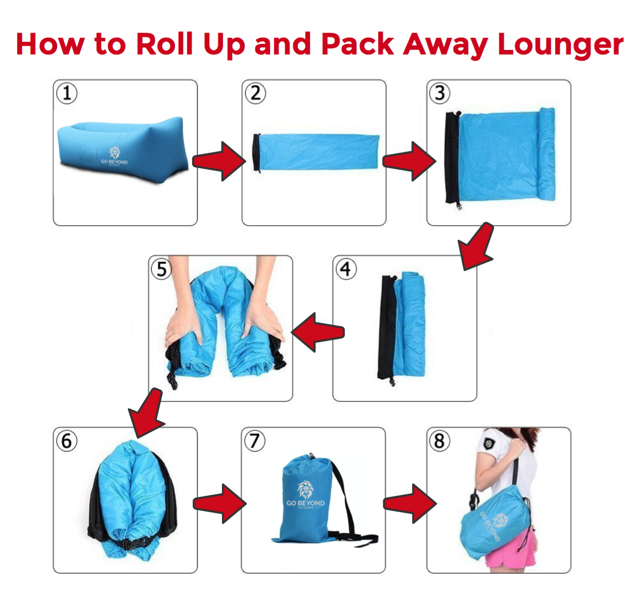 How to roll up and pack away inflatable lounger