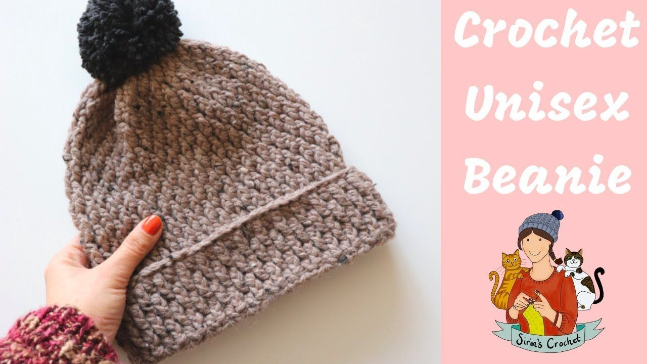 Easy Crochet Unisex Beanie Hat Youtube Easy Crochet Crochet Crochet Stitches For Beginners