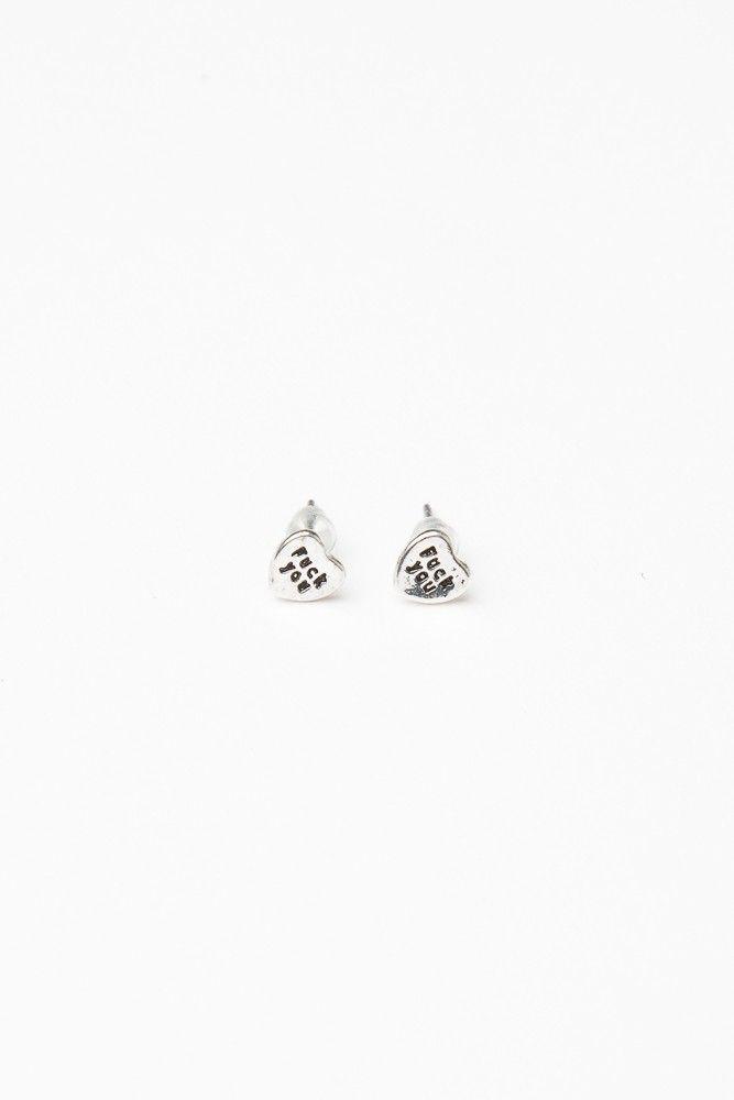 Brandy ♥ Melville | Silver F*ck You Heart Earrings - Accessories