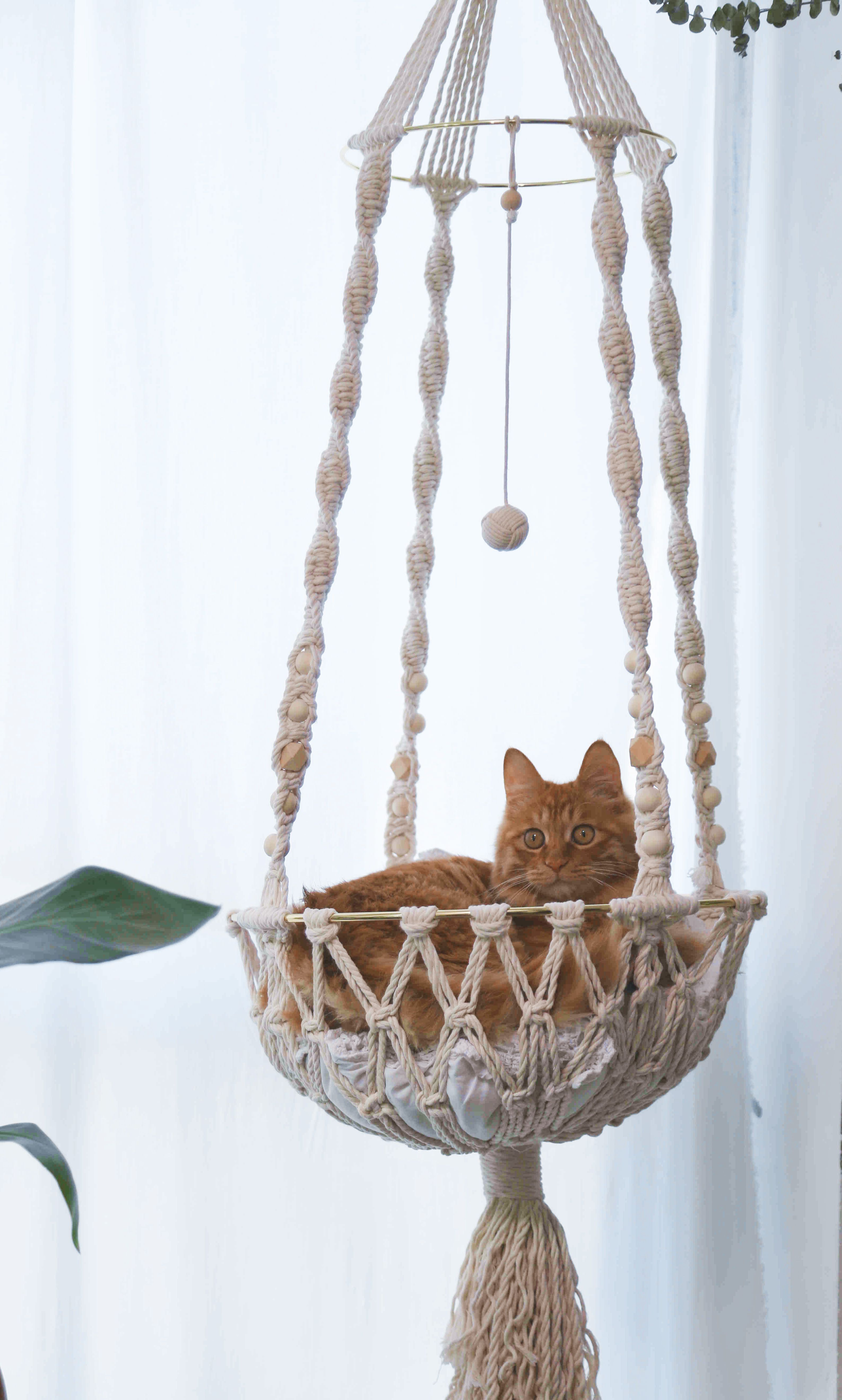 Macrame cat hammock Cotton hanging canine mattress Wall cat swing Cat lover presents Giant pet toy furnitures