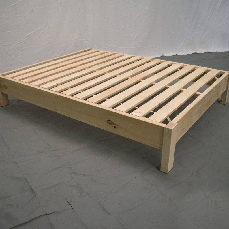 Traditional Unfinished Farmhouse Reclaimed Platformunfinished Farmhouse Platform Bed Traditional In 2020 Diy Bed Frame Easy Queen Bed Frame Diy Simple Bed Frame