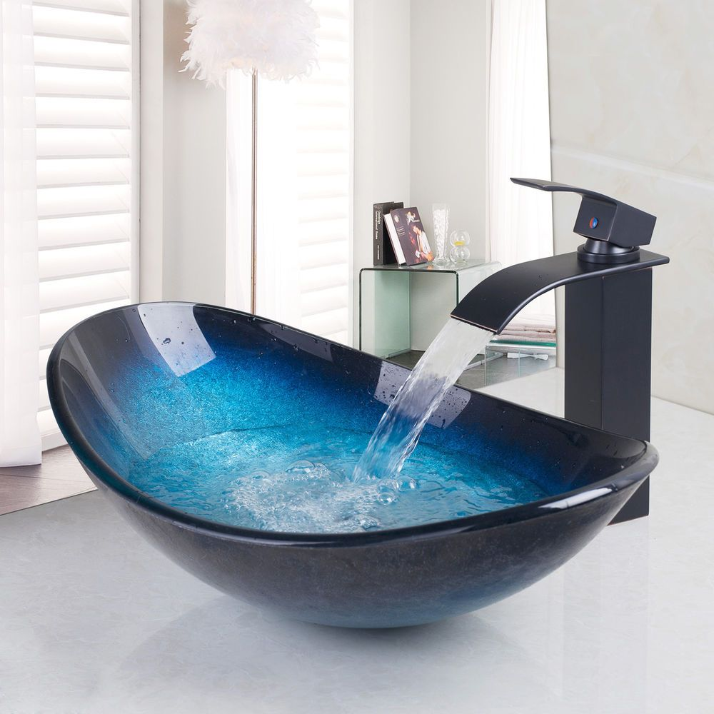Bathroom Tempered Glass Mono Mixer Bowl U0026 Oil Rubbed Bronze Sink Basin Taps