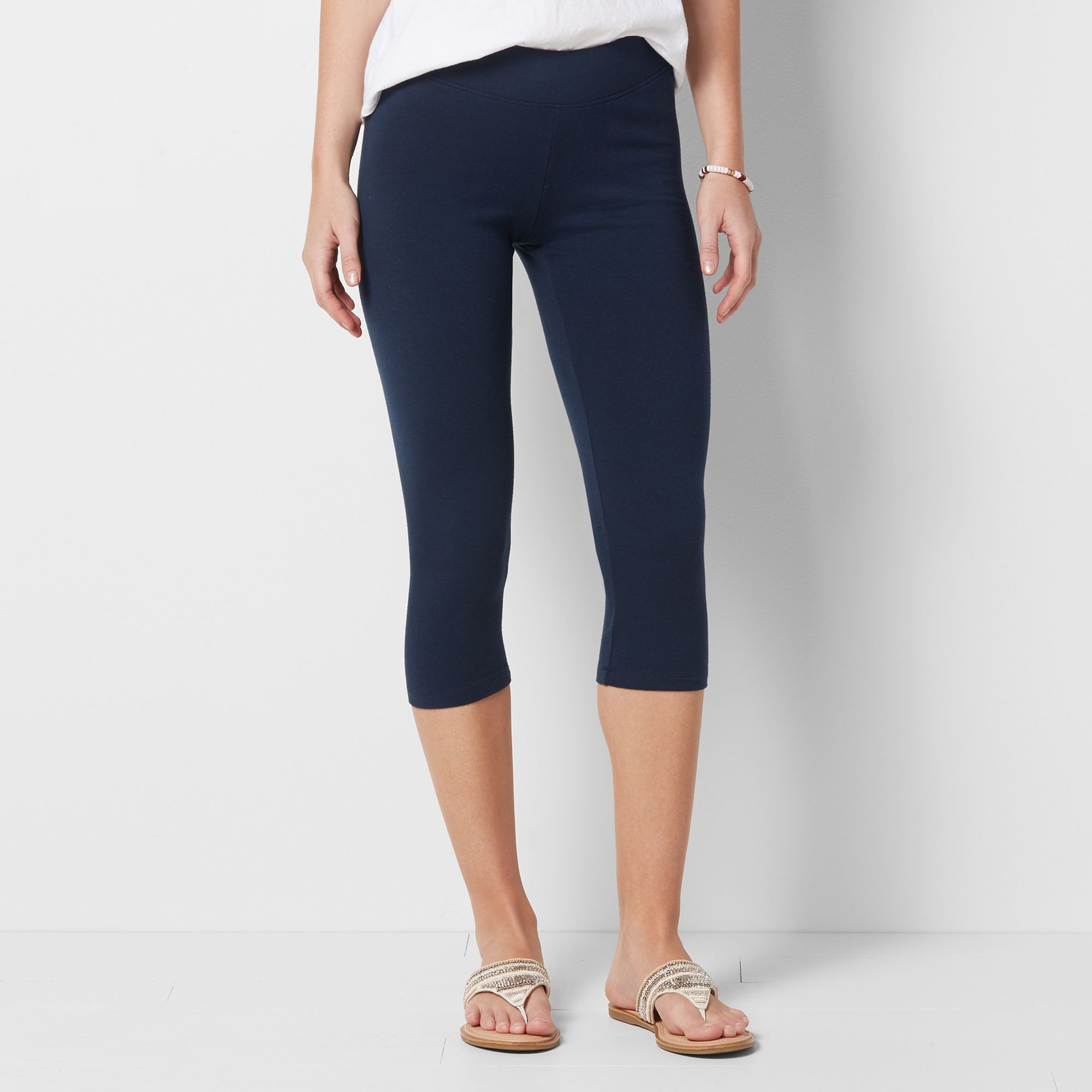"a0ac6a11fff698 Women's SONOMA Goods for Lifeâ""¢ Wide Waist Capri Leggings, Size: Small,  Dark Blue"