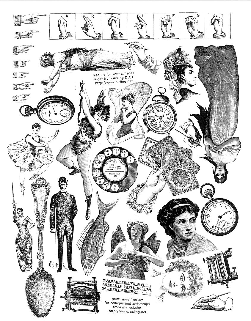 free - ephemera - doesn't link though, but image seems to be large enough to use/print. Collage illustrations, vintage.