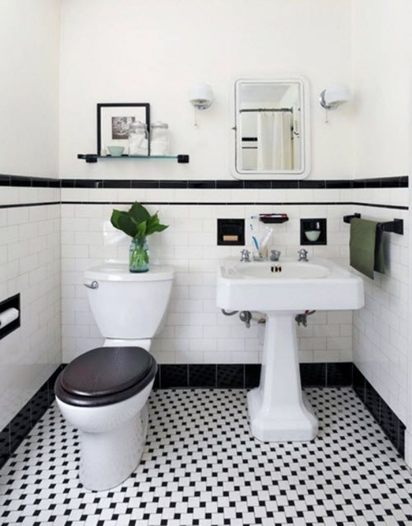 Schwarz Und Weiss Geflieste Badezimmer Deko Ideen Badezimmer Black And White Bathroom Floor Black And White Tiles Bathroom Vintage Bathroom Tile