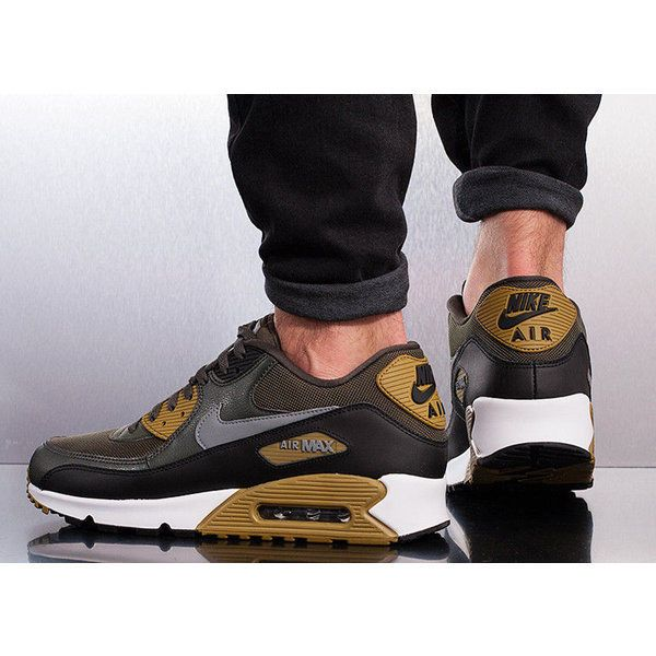 NIKE AIR MAX 90 ESSENTIAL CARGO KHAKI, COOL GREY & BLACK
