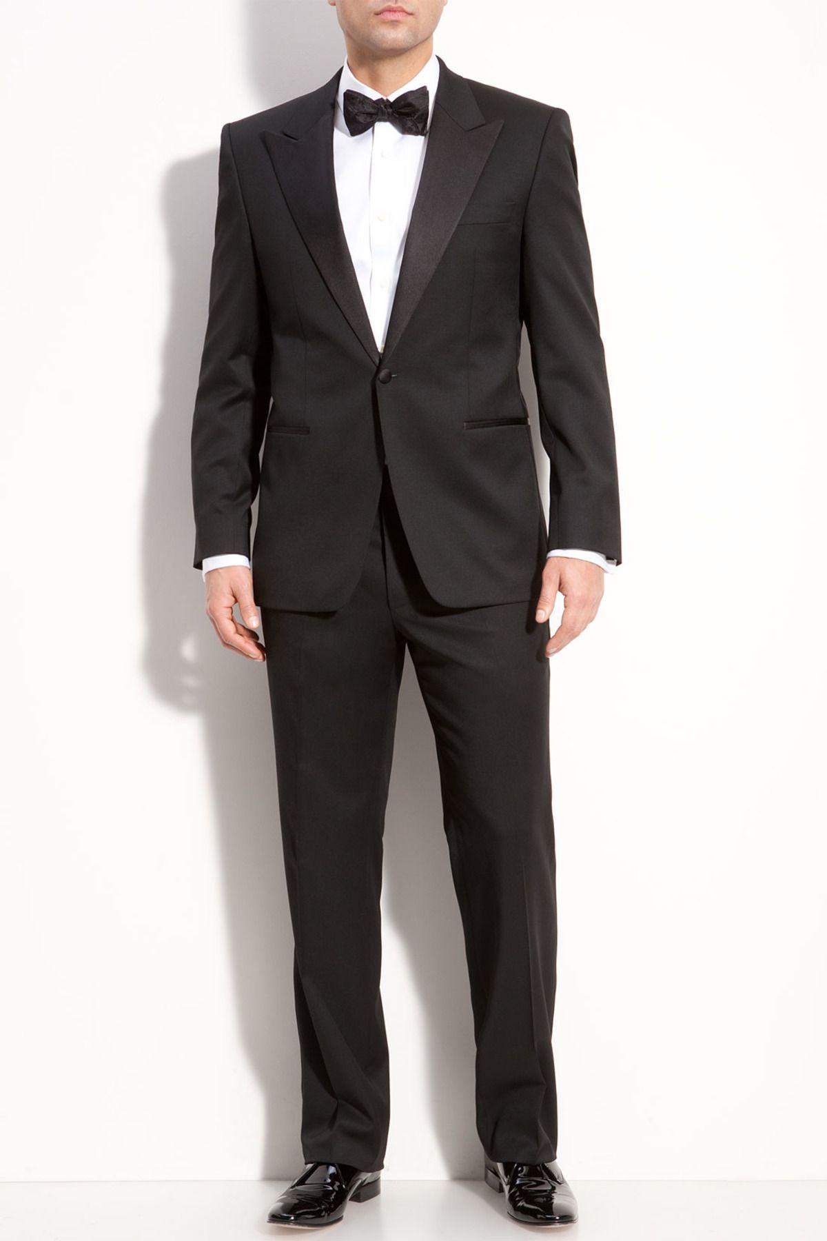 HUGO BOSS   Grant Solid Black One Button Peak Lapel Wool Suit ...