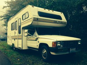 Jumping Off My New Home On Wheels Toyota Dolphin Toyota Camper House On Wheels