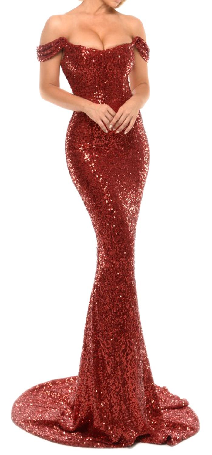 Mermaid Off The Shoulder Sequin Long Prom Dress With Court Train Red Evening Gown Macloth Prom Prom20 Prom Dresses Long Red Evening Gowns Sequin Party Dress