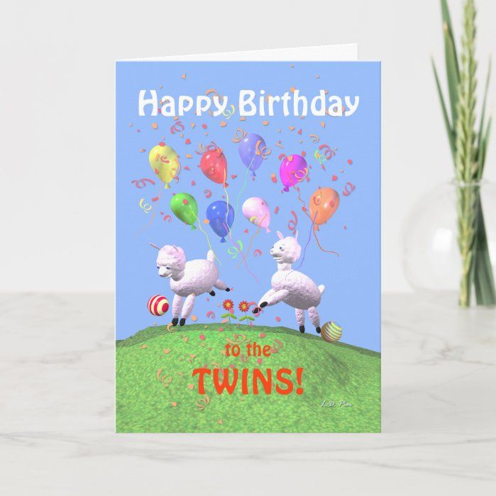 Happy Birthday Lambs For Twins Greeting Card Birthday Cards For Twins Birthday Wishes For Twins Birthday Card Template