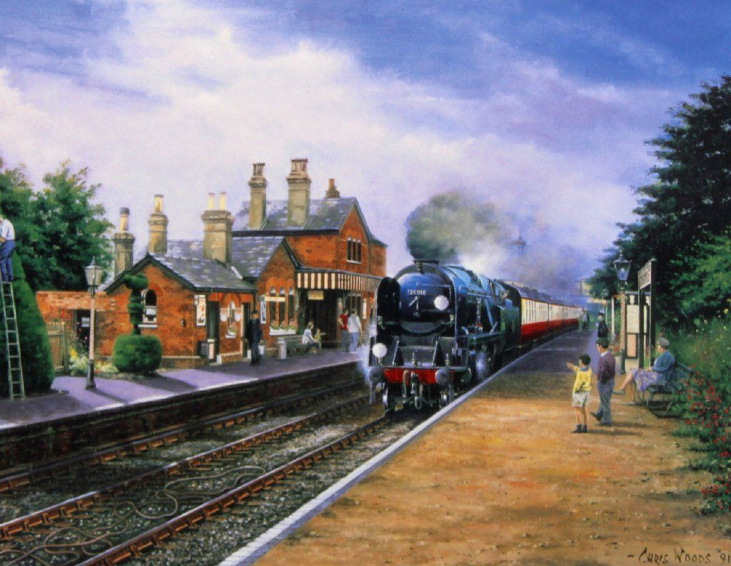 Summer Steam Arrival GWR Beautiful Print Painting Poster Steam Train Locomotive