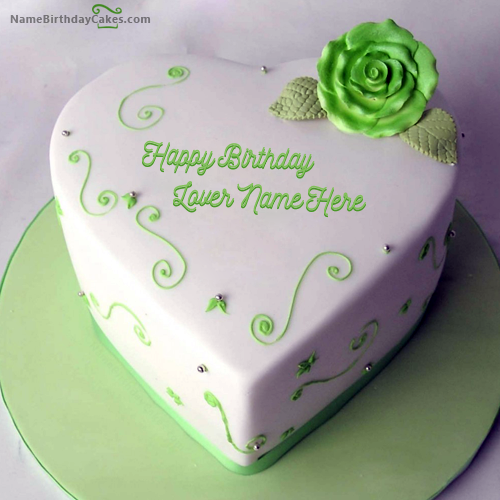 Happy Birthday Cakes For Lover With Name: Write Name On Green Heart Birthday Cake For Lover