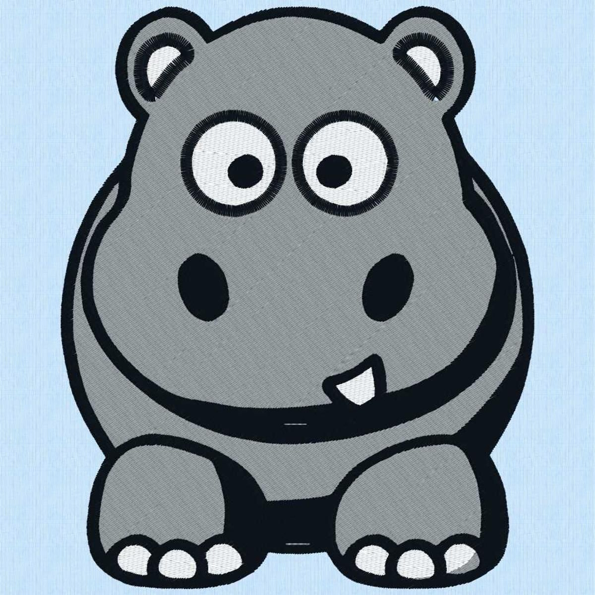 Hippo Art Images: Hippo 1 Machine Embroidery Design 4 Sizes