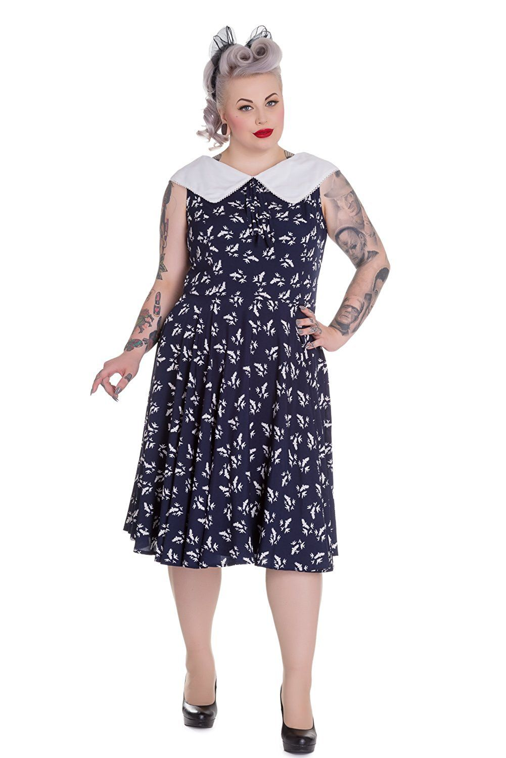 Hell Bunny Plus Vintage Navy Blue and White Flat Collar Bird Print ...