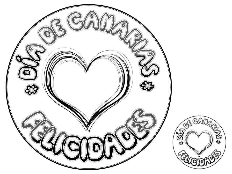DÍA DE CANARIAS. Colorear. Corazón. | día de canarias | Pinterest