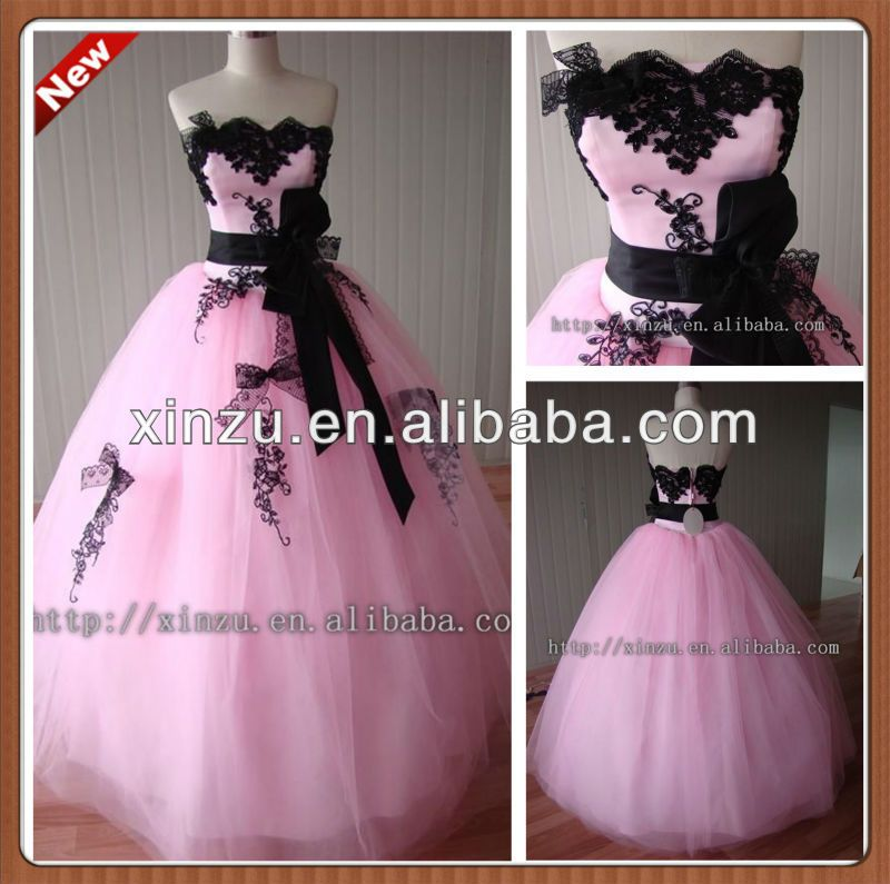 Hot Famous Strapless A-line Black Appliqued And Sashed Pink And ...