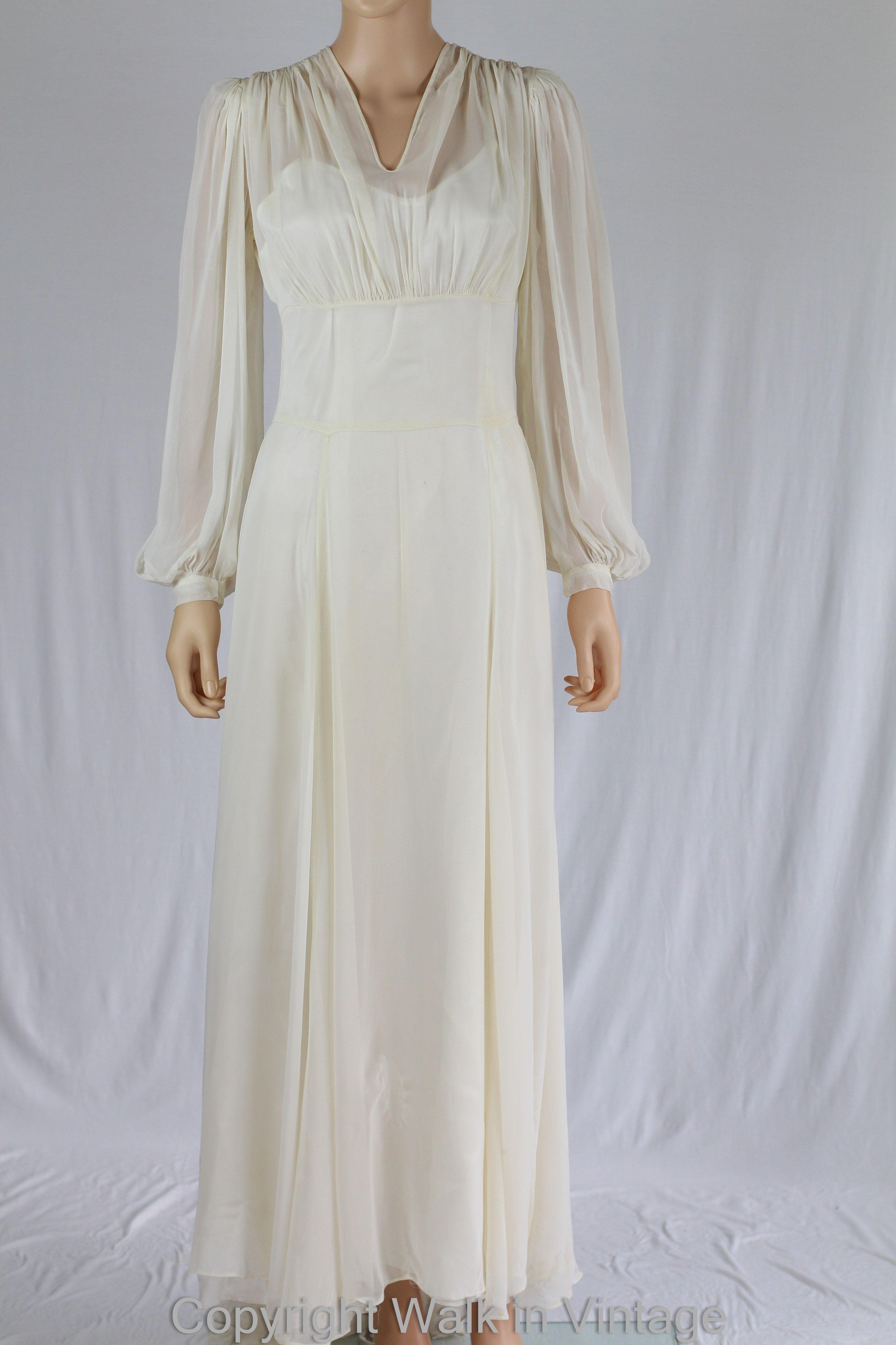 1930s wedding dress  Holywood Glamour s Chiffon Wedding Dress  s Clothing