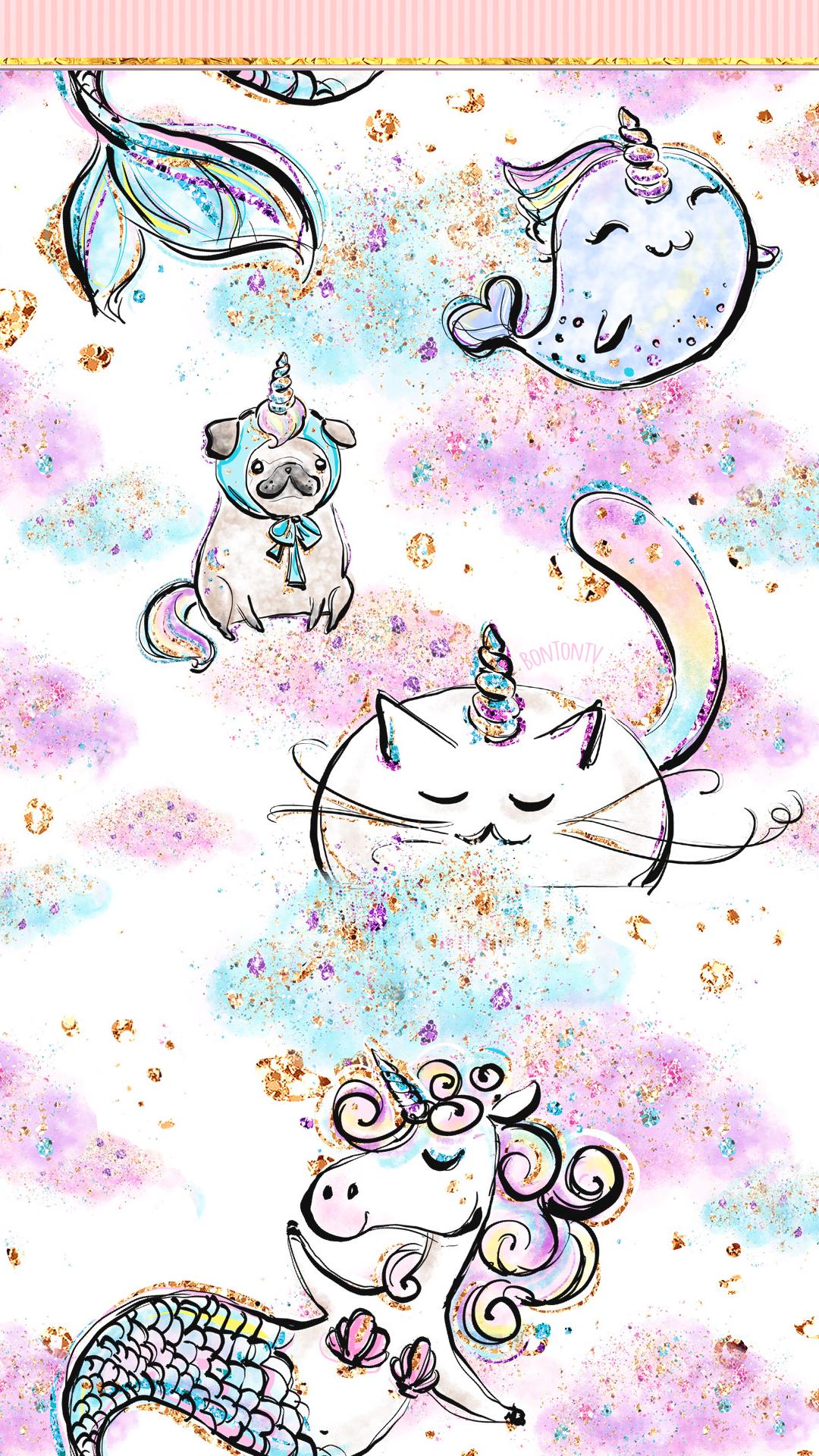 Phone Wallpapers Hd Cute Unicorn Glitter Art By Bonton Tv Free