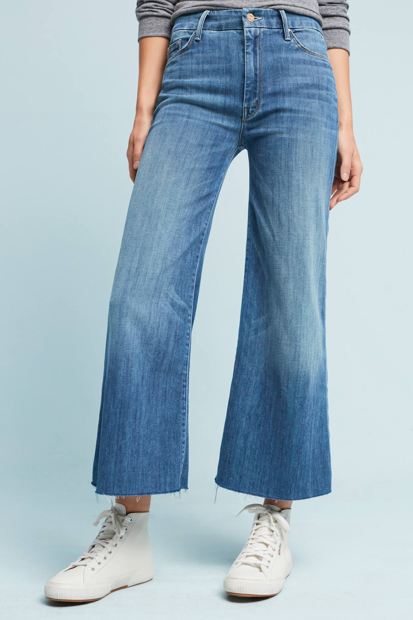 e95537d045 Slide View: 2: Mother The Roller Ultra High-Rise Cropped Wide-Leg Jeans