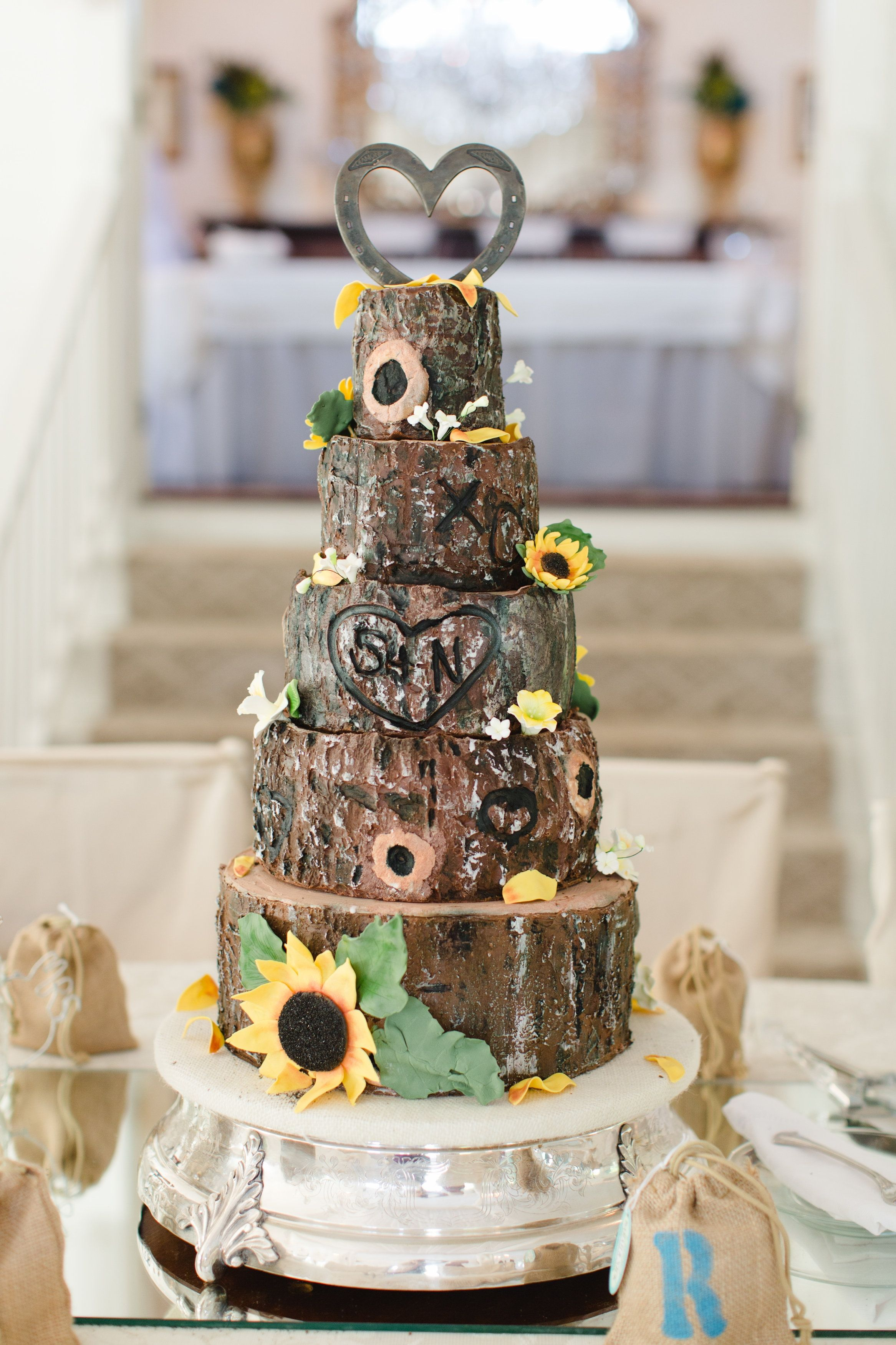 My Daughter\'s Wedding Cake - Tree trunk; tree bark; sunflowers ...