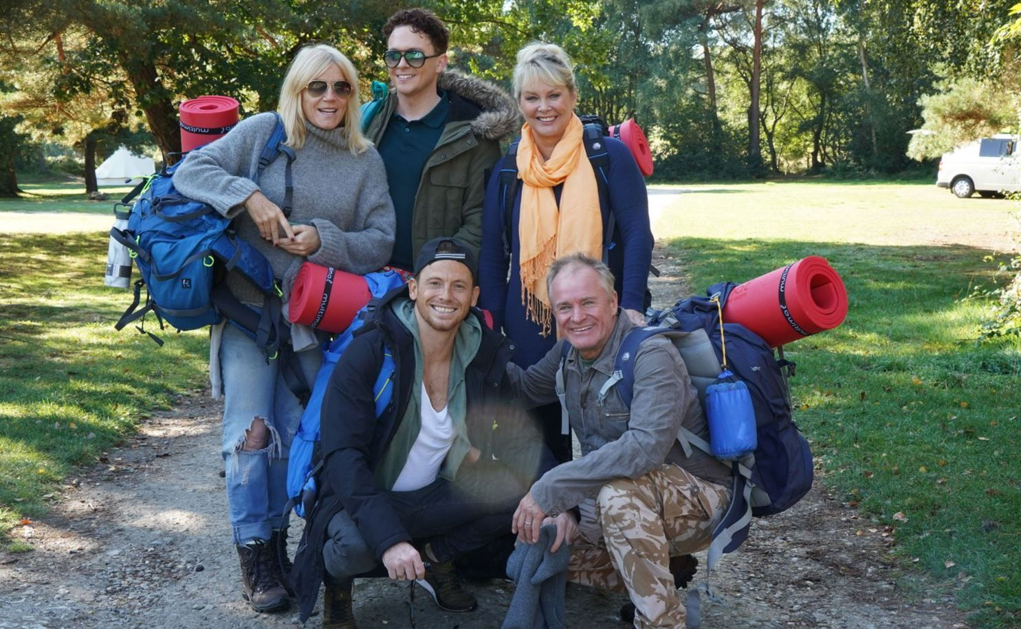 Singer Cheryl Baker Actor And King Of The Jungle Joe Swash Former Eastender Michelle Collins And Comedians Bobby Davro And S Go Camping Celebrities Comedians