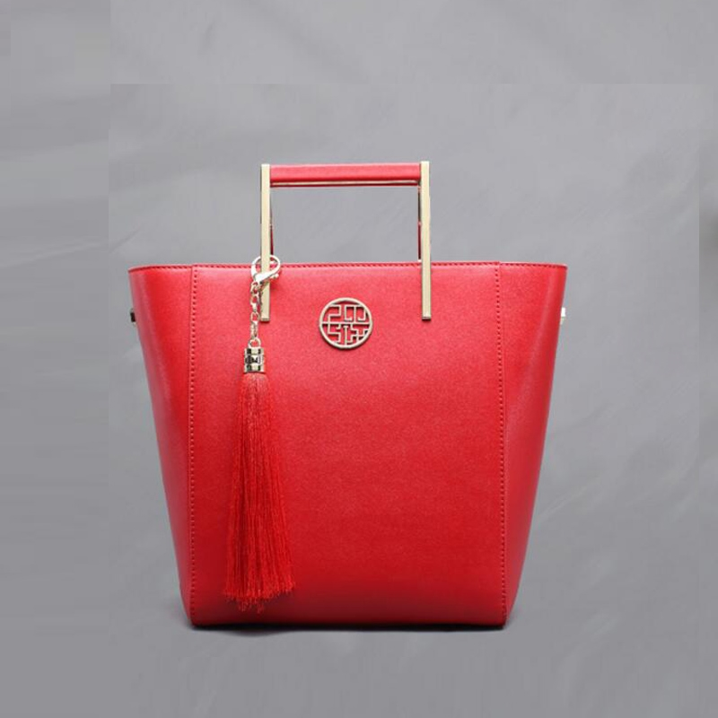 89.80$  Buy now - http://ali3ig.worldwells.pw/go.php?t=32777834767 - PMSIX superior cowhide Genuine leather bag Designer handbag Retro red wedding bag fashion tote women leather handbags  89.80$
