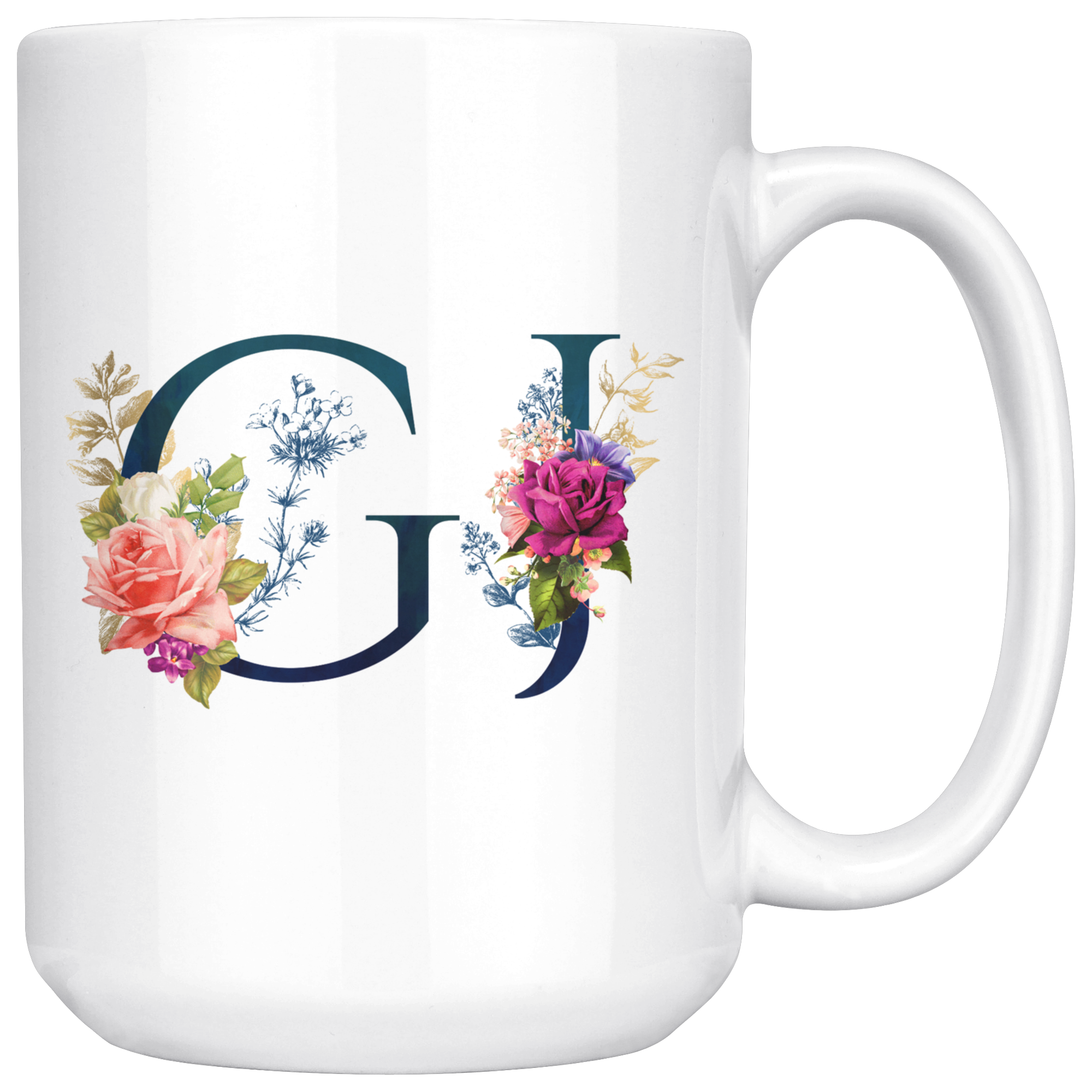 Gj initials 15 oz white coffee mug White coffee mugs