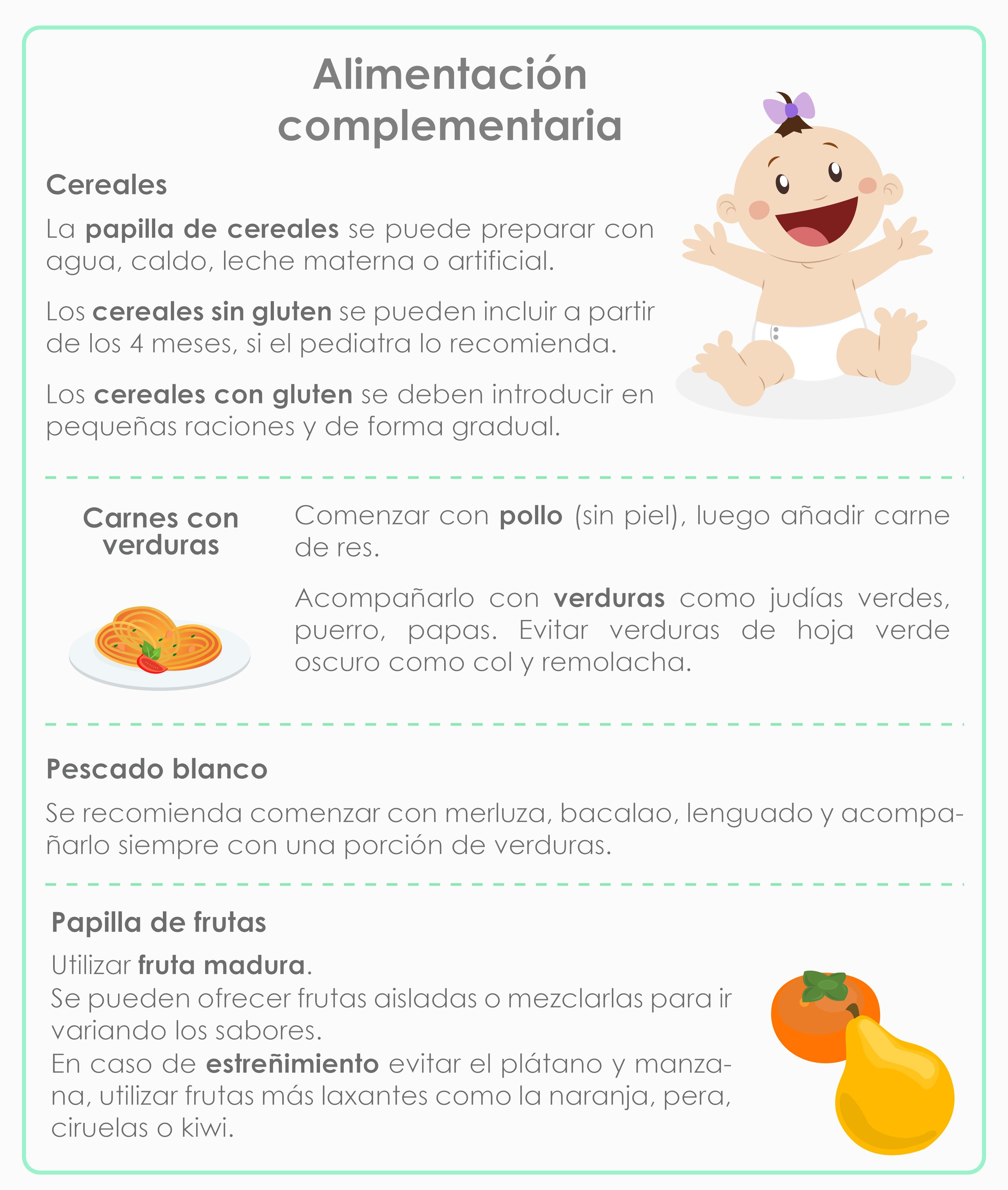 alimentacion complementaria bebe 4 meses