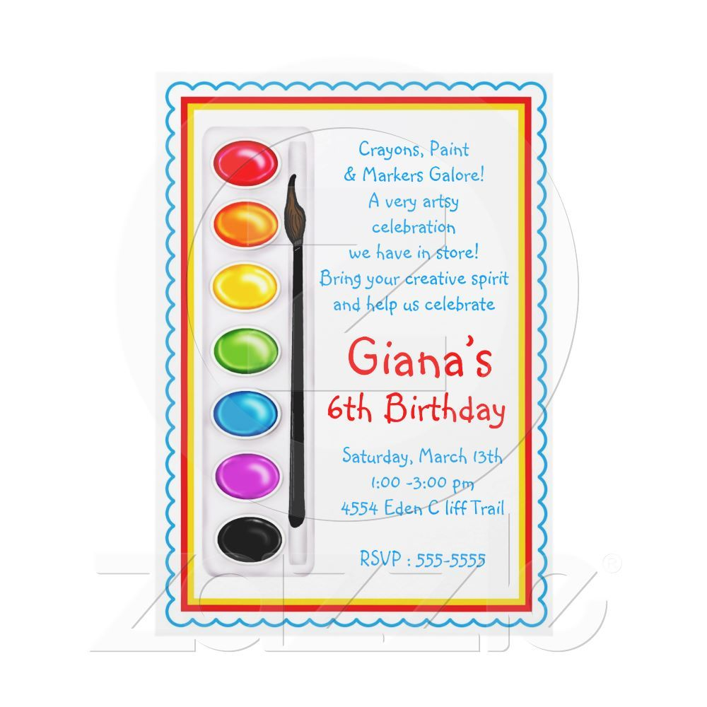 Art Paint Craft Birthday Party Invitations | Art birthday, Party ...