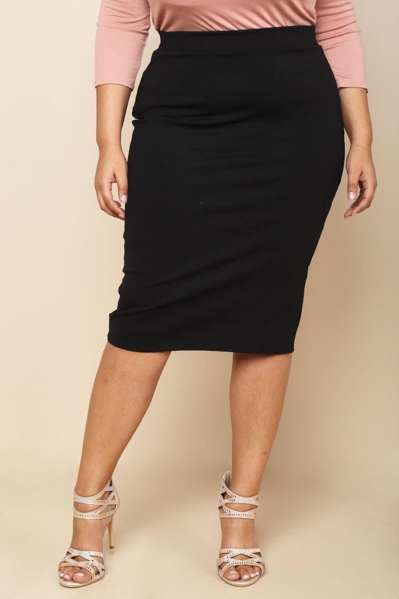 Plus Size Midi Peg Skirt Black