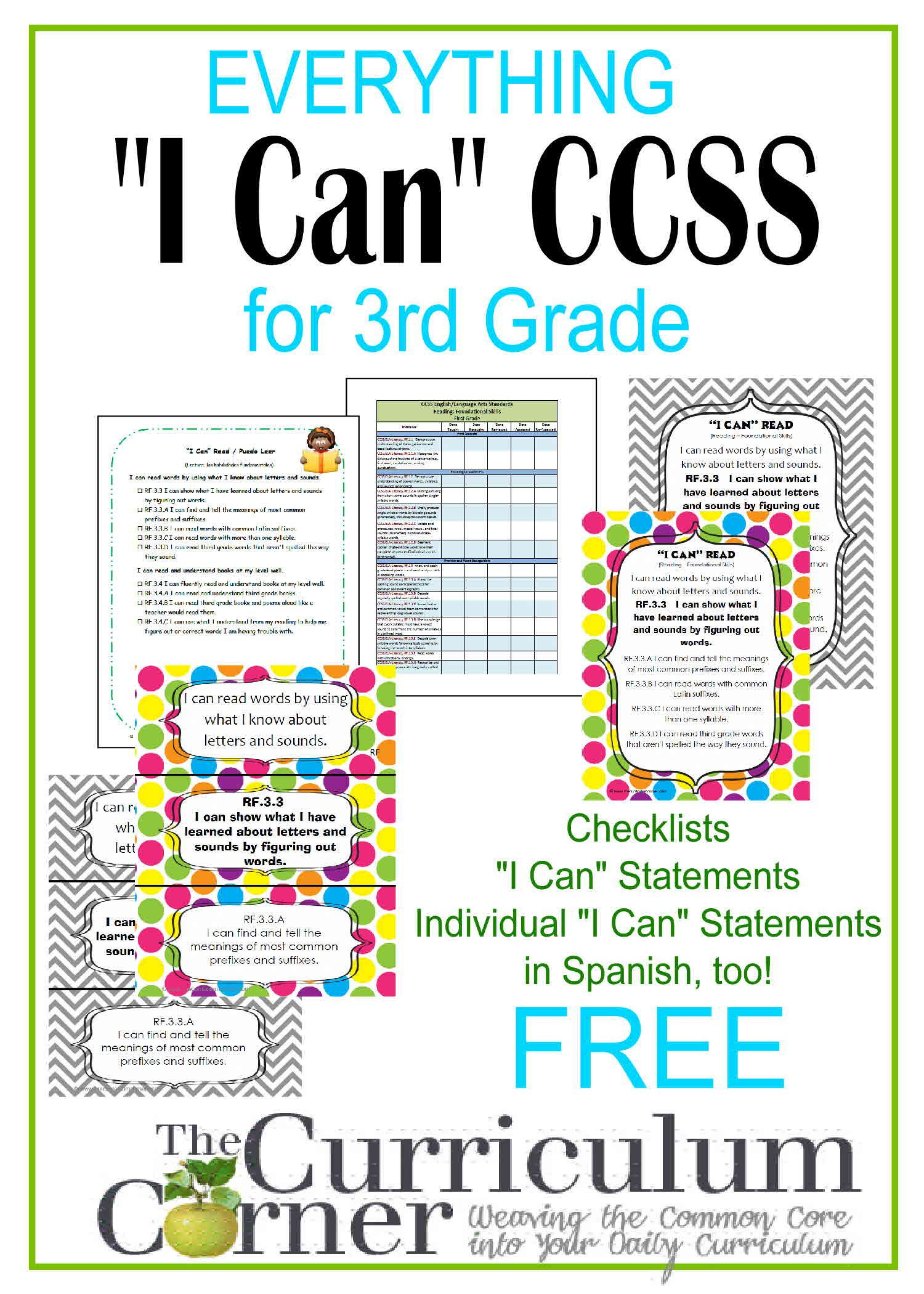 I Can Common Core Kid Friendly Standards By Wwwthecurriculumcorner -