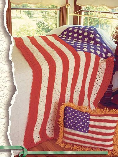 Free Crochet Pattern Friday Stars And Stripes Flag Afghan And Pillow