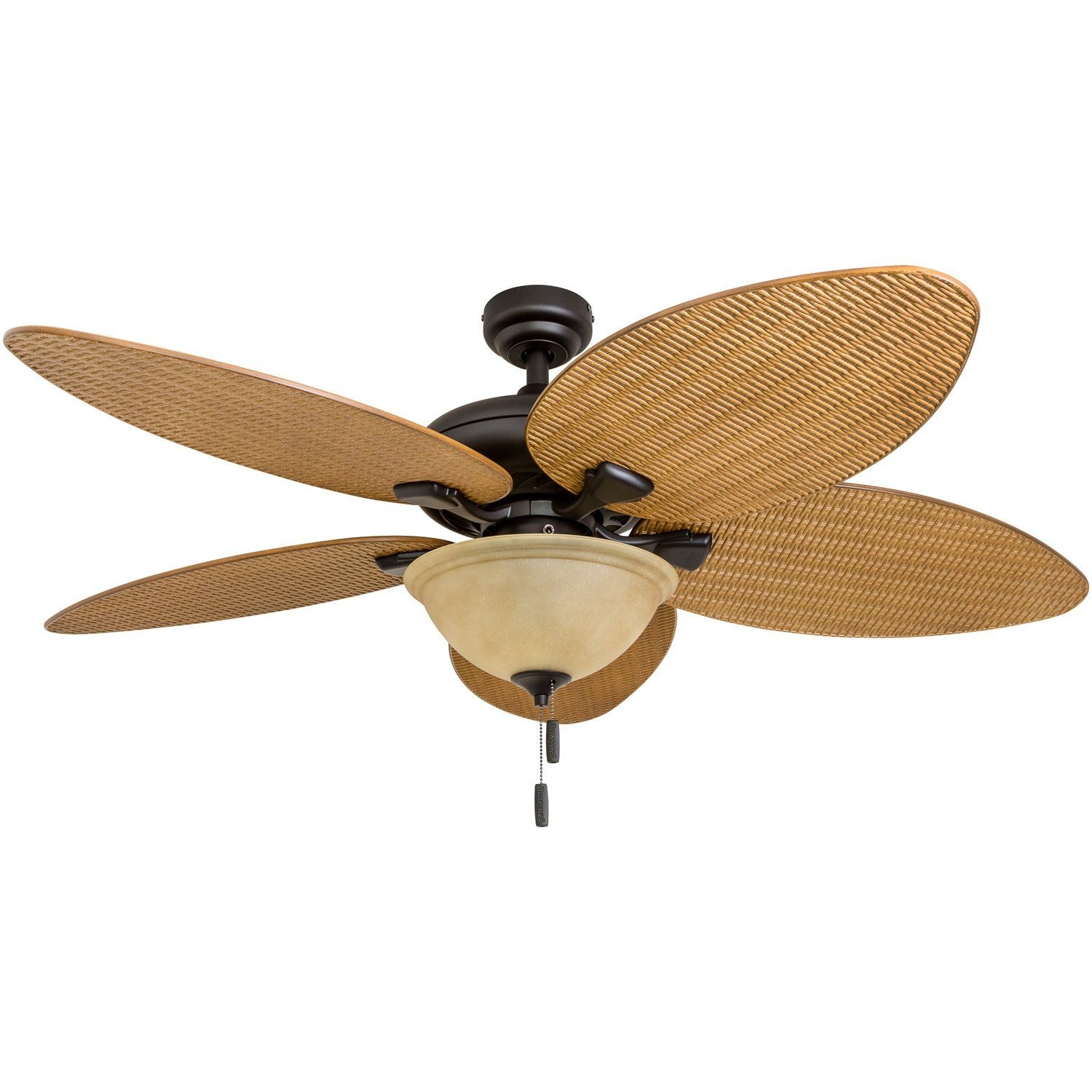 Honeywell Ceiling Fans 50507 01 Palm Island 52 Inch Tropical Ceiling Fan With Tuscan Bowl Light Five Leaf Wicker Blades Indoor Outdoor Sandstone In 2020