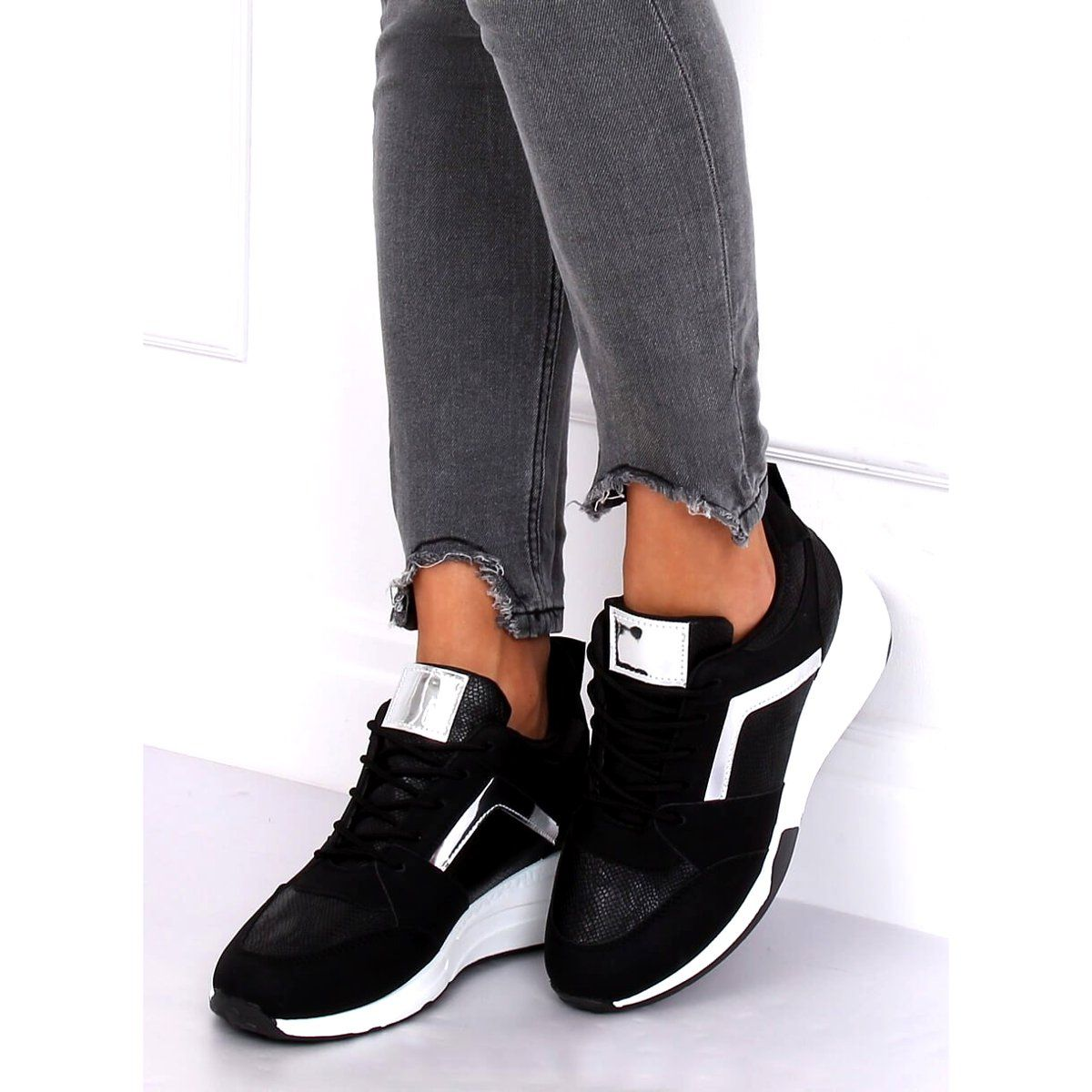 Sneakersy Na Koturnie Czarne Yl 33 Black Zolte Sneakers Shoes Balenciaga