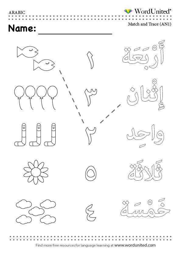 Arabic Numbers Matching Activity (1-5) - WordUnited Arabic Alphabet For  Kids, Learn Arabic Alphabet, Learn Arabic Online