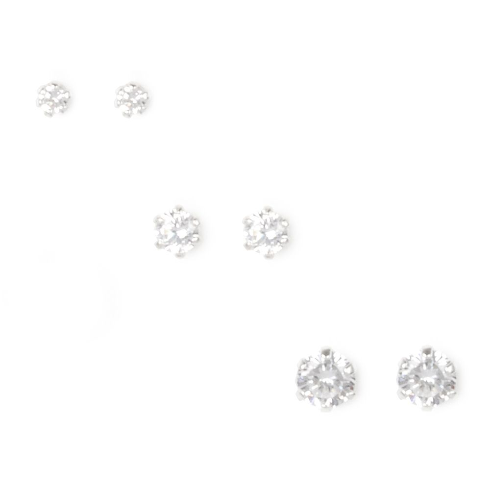 ef4a72674 Sterling Silver Small Cubic Zirconia Stud Earrings Set of 3   Claire's