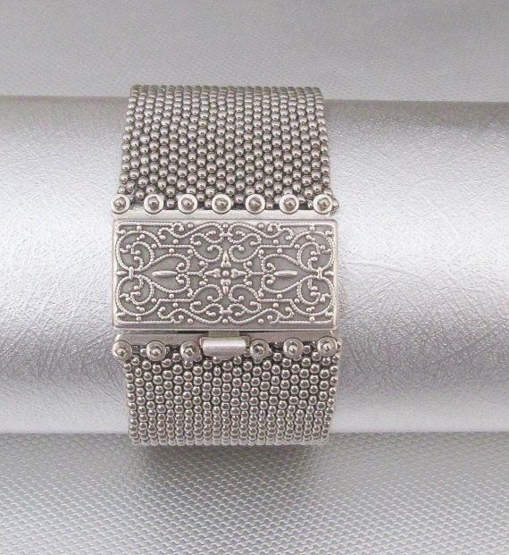 silver beaded cuff seed bead bracelet beaded jewelry by beadnurse
