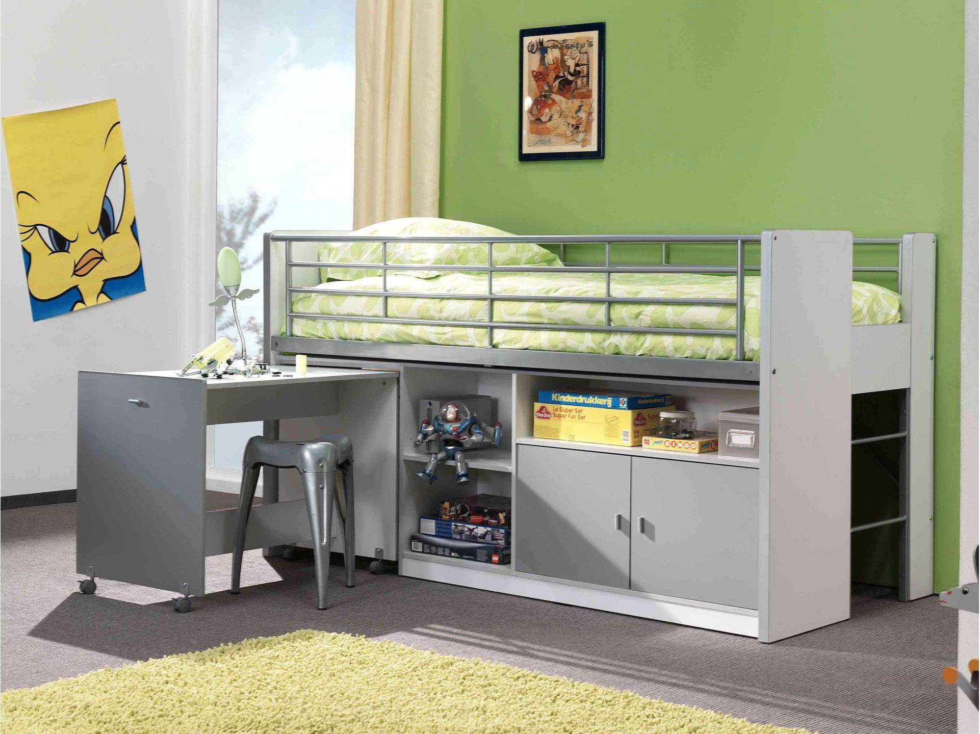 lit combine enfant combi silver compact loft beds for kids pinterest. Black Bedroom Furniture Sets. Home Design Ideas