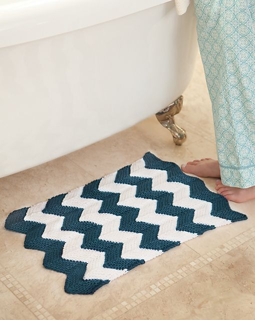 Chevron Knitted Bath Mat Pattern Knit And Crochet Pinterest