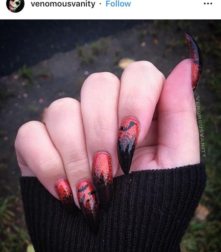 Halloween bat nails | Halloween nails, Nails, Halloween bats