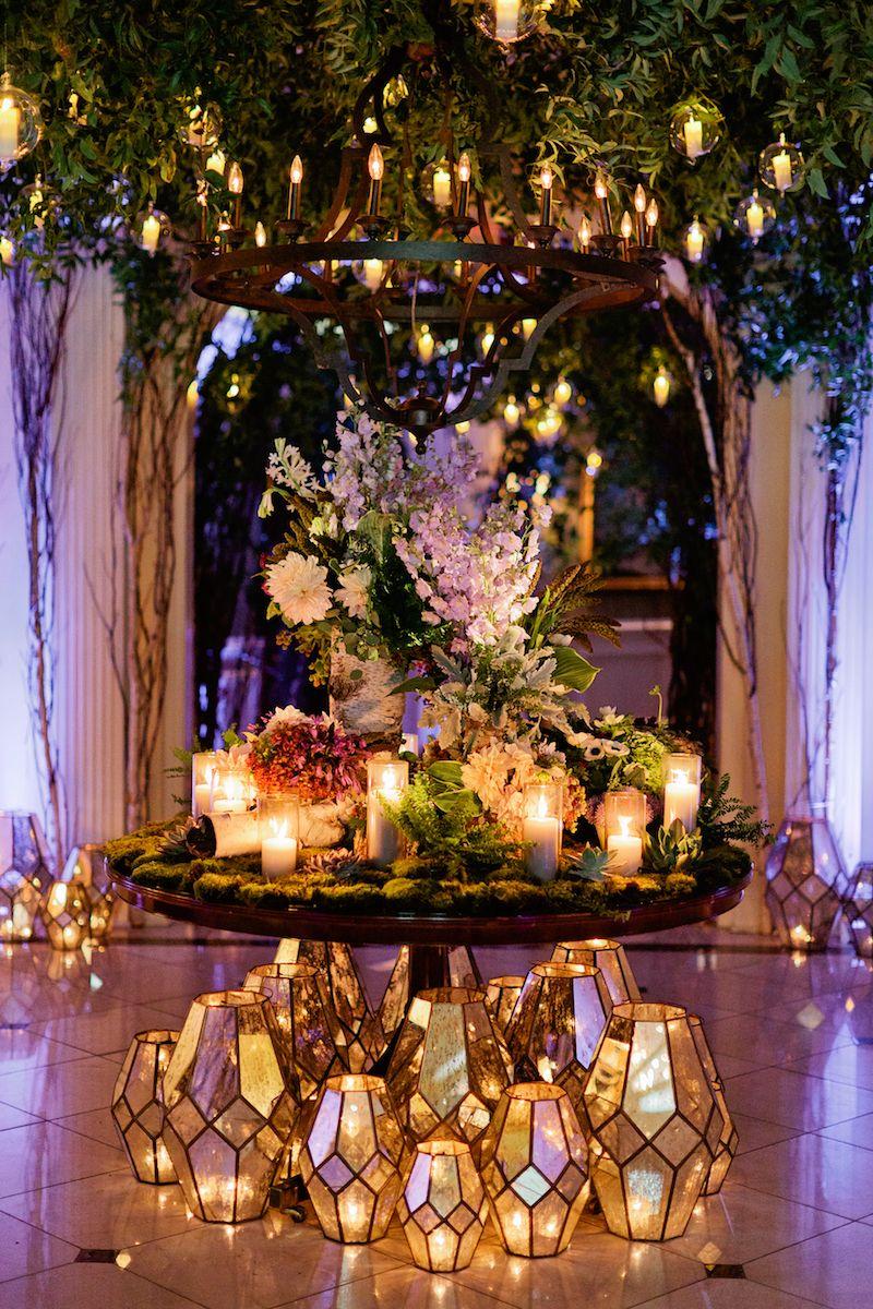 Wedding reception decoration ideas with lights  Enchanted Woodland Inspired Wedding  Mercury Lanterns  Iron