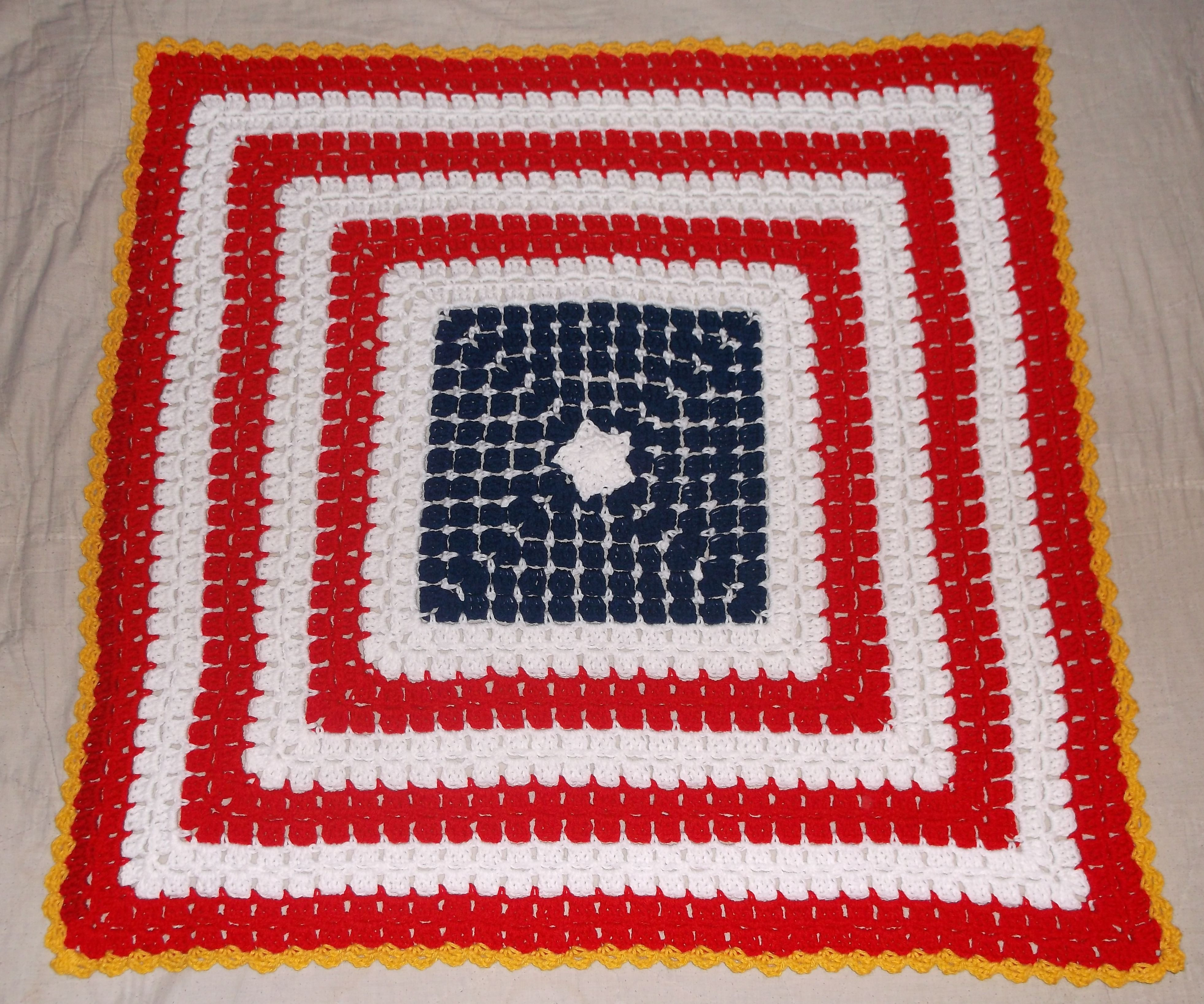 Patriotic Usa Star And Stripes Red White And Blue Crochet Granny