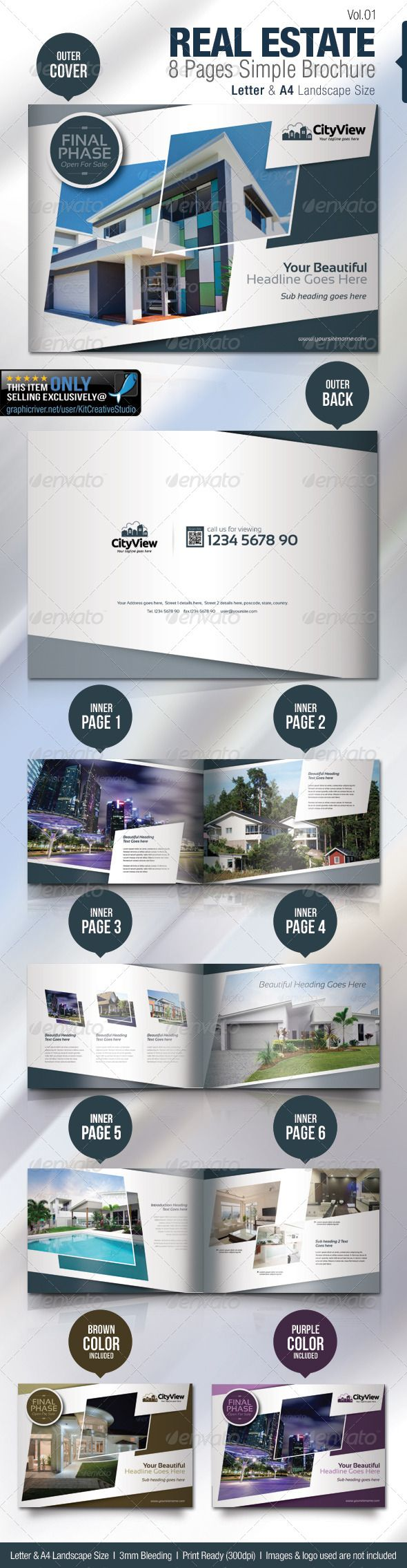 Real Estate 8 Pages Simple Brochure   Brochures, Brochure template ...