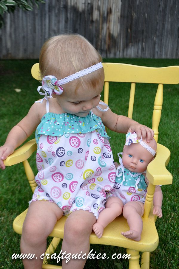 Matching ruffle rompers for baby girl and her doll! Cutest!! | DIY ...