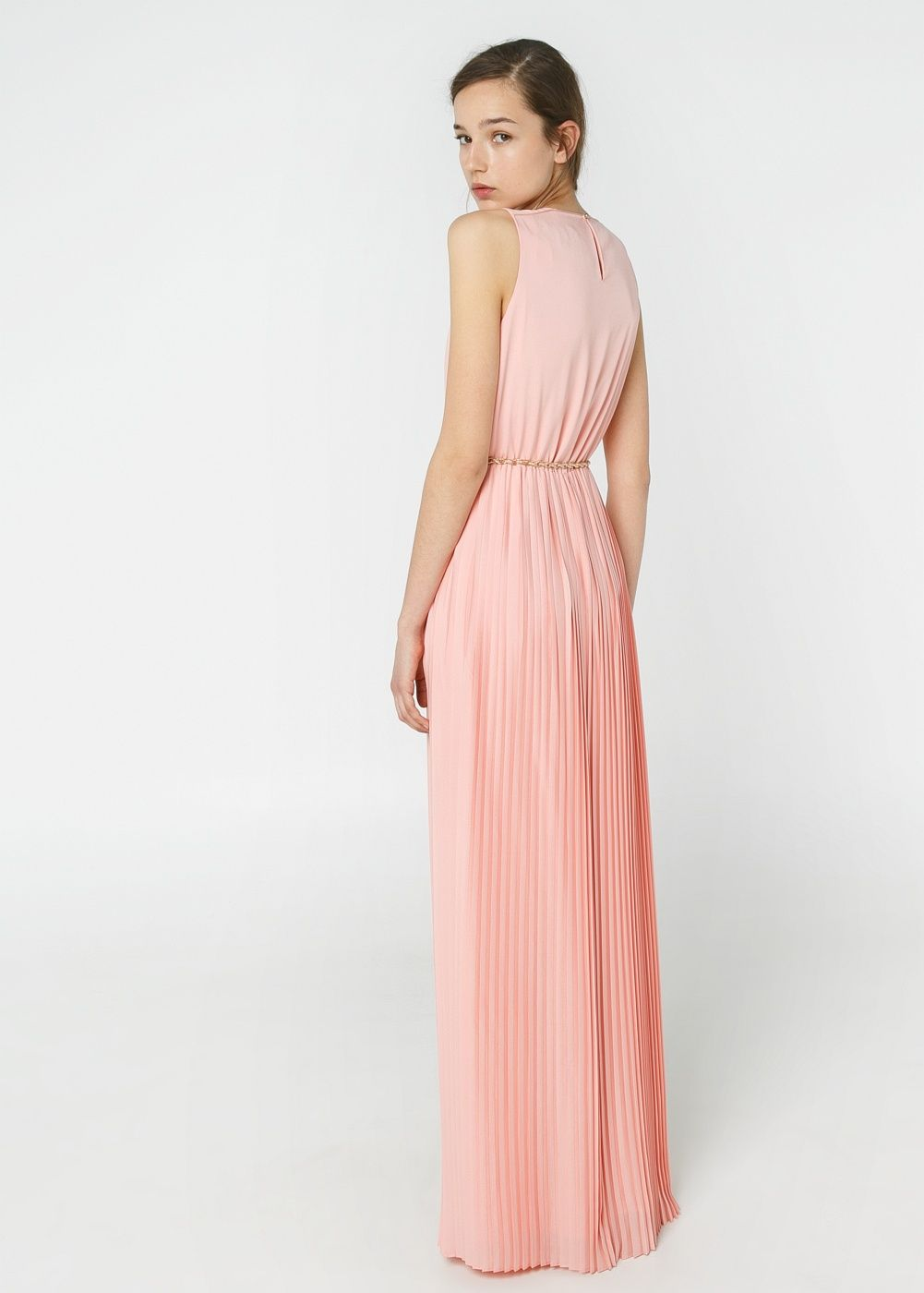Vestido largo plisado - Mujer