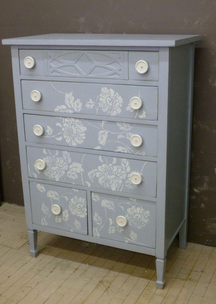 Flower Stencil Dresser Furniture Furniture Makeover